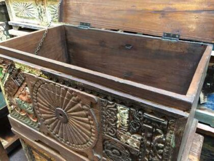 kh17-RS2019-48-a indian furniture trunk carved piece front unique storage open close