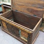 kh17-RS2019-48-b indian furniture trunk carved piece front unique storage open