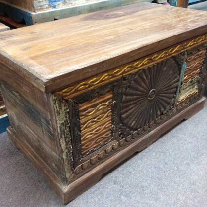 kh17-RS2019-48-b indian furniture trunk carved piece front unique storage angle