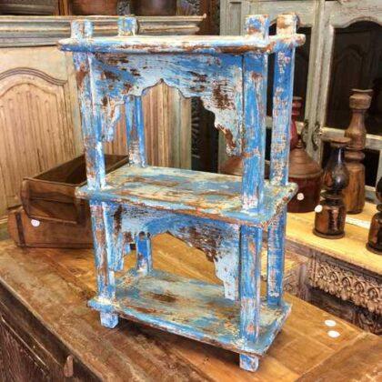 kh17-RS2019-64 indian furniture wall 2 shelves blue left