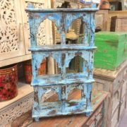 kh17-RS2019 66 indian furniture wall 6 shelves blue front