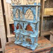 kh17-RS2019 66 indian furniture wall 6 shelves blue right
