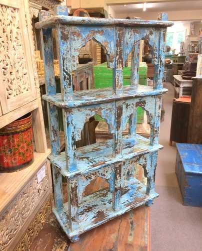 kh17-RS2019 66 indian furniture wall 6 shelves blue