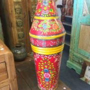kh17-RS2019-81 indian accessories iron pot large tall hand painted front