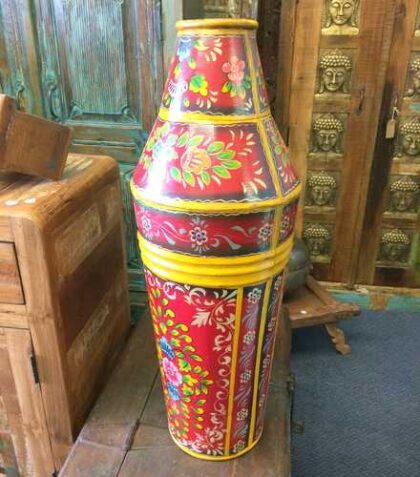 kh17-RS2019-81 indian accessories iron pot large tall hand painted side