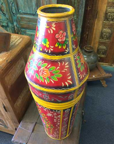 kh17-RS2019-81 indian accessories iron pot large tall hand painted top