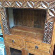 kh17 RS2019 95 indian furniture old teak cabinet part glass carved