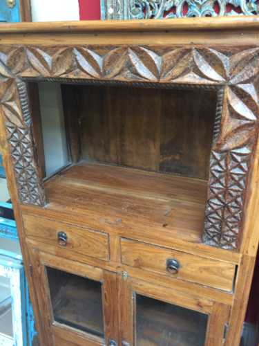kh17 RS2019 95 indian furniture old teak cabinet part glass carved