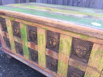 kh17-rs-2019-092 indian furniture storage trunk buddha angle