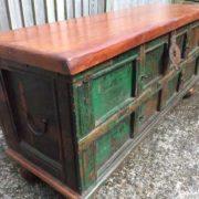 kh17-RS2019-69 indian furniture trunk wooden storage bun foot corner