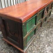 kh17-RS2019-69 indian furniture trunk wooden storage bun foot corner top