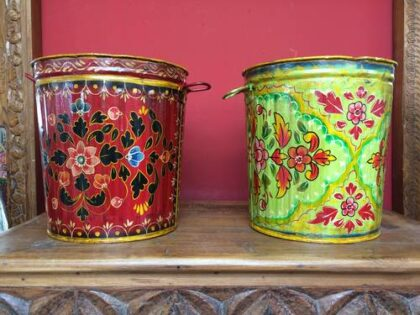 kh17-RS2019-78 indian accessories bin hand painted tin red lime