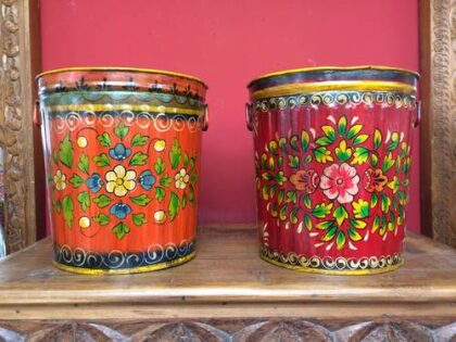 kh17-RS2019-78 indian accessories bin hand painted tin red orange
