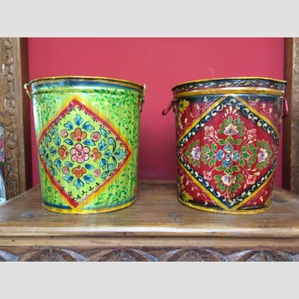 kh17-RS2019-78 indian accessories bin hand painted tin red green