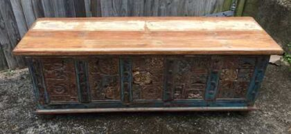 kh17-rs-2019-093 indian furniture storage trunk carved front reclaimed front