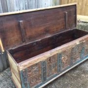 kh17-rs-2019-093 indian furniture storage trunk carved front reclaimed open