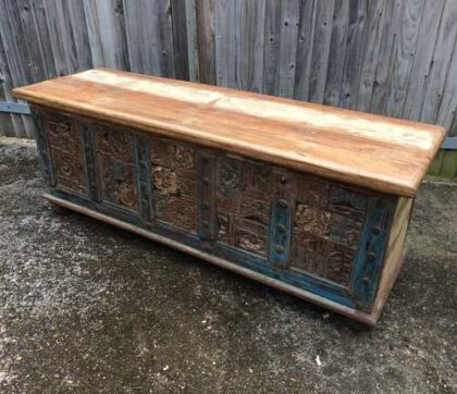 kh17-rs-2019-093 indian furniture storage trunk carved front reclaimed angle top