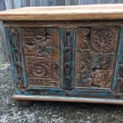 kh17-rs-2019-093 indian furniture storage trunk carved front reclaimed corner