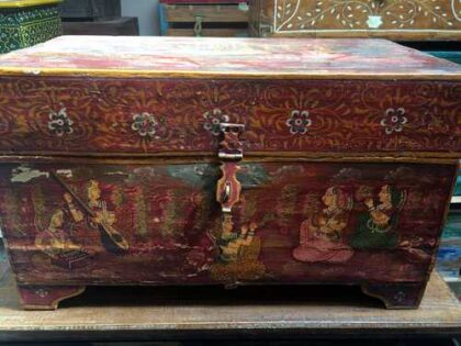 k67-90723 indian furniture trunk storage hand painted detailed red front