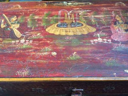k67-90723 indian furniture trunk storage hand painted detailed red top