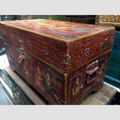 k67-90723 indian furniture trunk storage hand painted detailed red