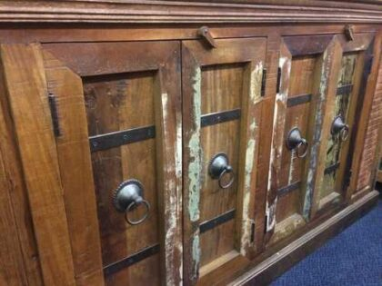k67-90765 indian furniture sideboard reclaimed cupboards banding close