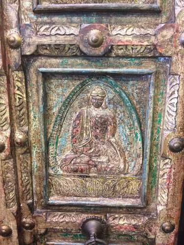 k67-90779 indian furniture cabinet buddah carved large close