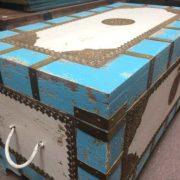 k67-90725 indian furniture trunk storage blue white angle
