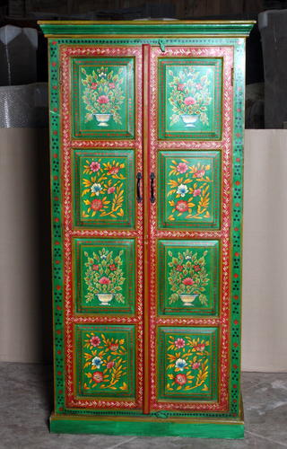 k69 2444 indian cabinet hand painted large green flowers front