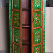 k69 2444 indian cabinet hand painted large green flowers open