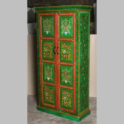 k69 2444 indian cabinet hand painted large green flowers