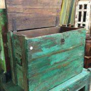 kh18 001 D indian furniture trunk vintage teak open