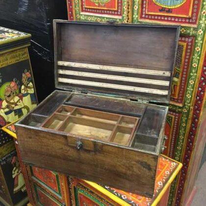 kh18 001 G indian furniture trunk vintage teak open