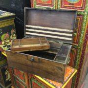 kh18 001 G indian furniture trunk vintage teak open compartment
