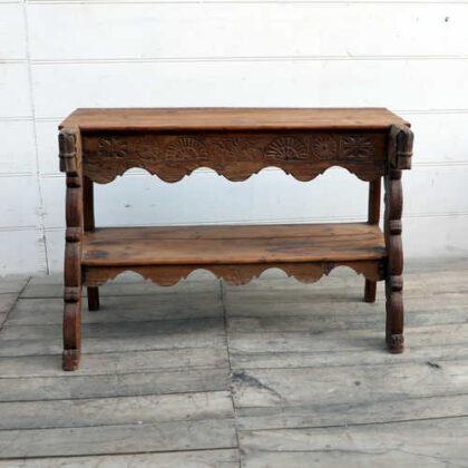 kh18 064 indian furniture consol teak carved panel front