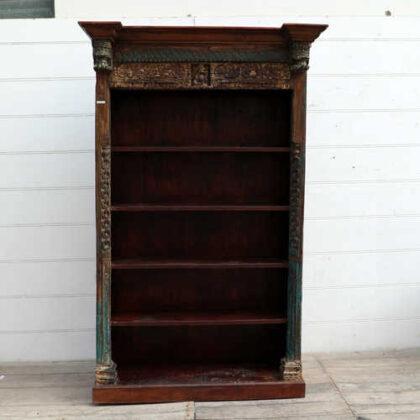 kh18 067 indian furniture bookcase carved vintage reclaimed front