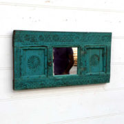 kh18 105 indian furniture mirror carved blue angled