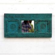 kh18 105 indian furniture mirror carved blue front
