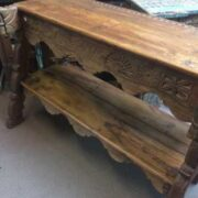 kh18 064 indian furniture consol teak carved panel close