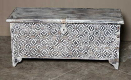 k69 1935 indian furniture trunk diamond white long front