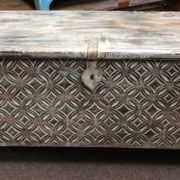 k69 1935 indian furniture trunk diamond white long front close