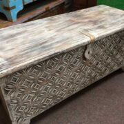 k69 1935 indian furniture stylish carved mango trunk diamond white long front angled