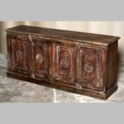 k69 2003 indian furniture carved 4-panel sideboard large darkwood