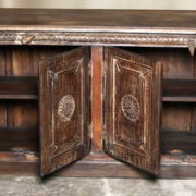 k69 2003 indian furniture carved 4-panel sideboard large darkwood open