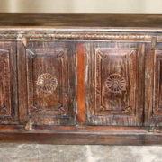 k69 2003 indian furniture carved 4-panel sideboard large darkwood front