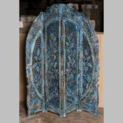 k69 2450 indian furniture screen intricate carved blue