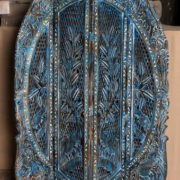 k69 2450 indian furniture screen intricate carved blue close