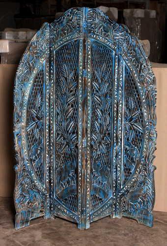 k69 2450 indian furniture screen intricate carved blue close