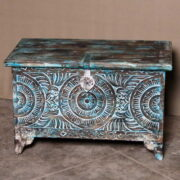 k69 2455 indian furniture trunk geometric carvings blue