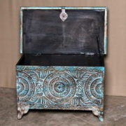 k69 2455 indian furniture trunk geometric carvings blue open